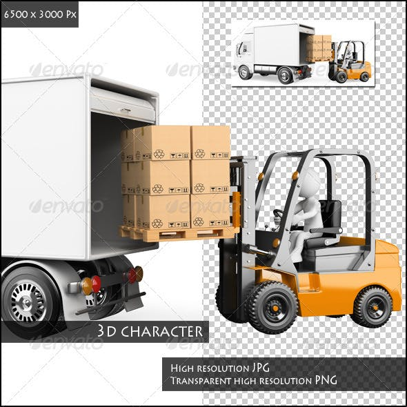 3D White People. Loading a Truck with a Forklift