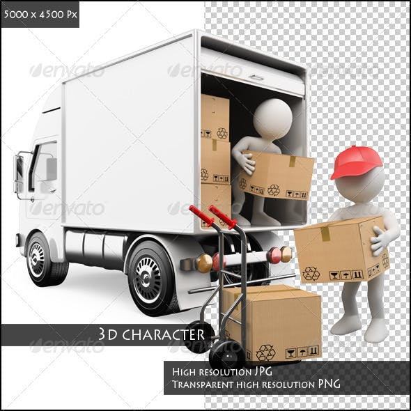 3D People. Workers Unloading Boxes from a Truck