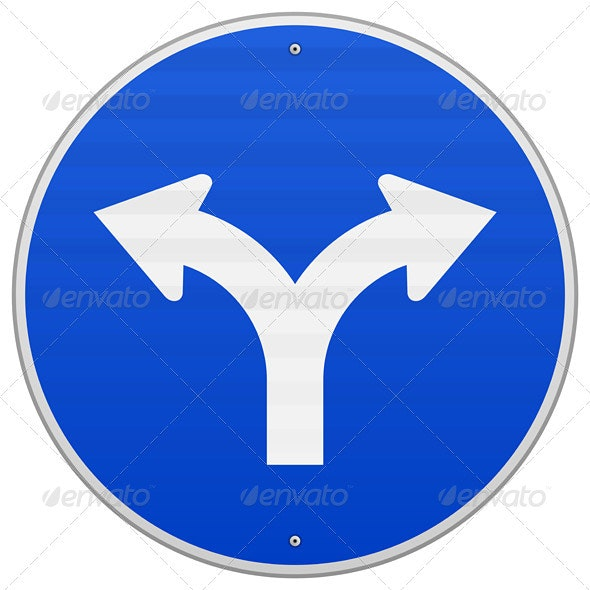 Blue Sign with Two Arrows - Objects Vectors