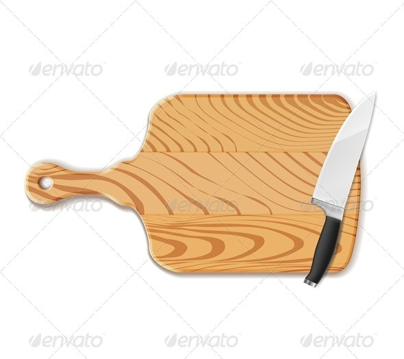 Chopping Board and Knife - Objects Vectors
