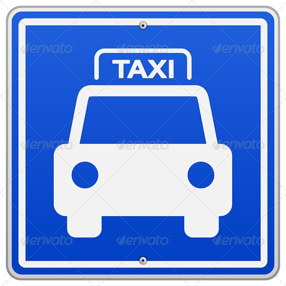 Taxi Blue Sign - Services Commercial / Shopping