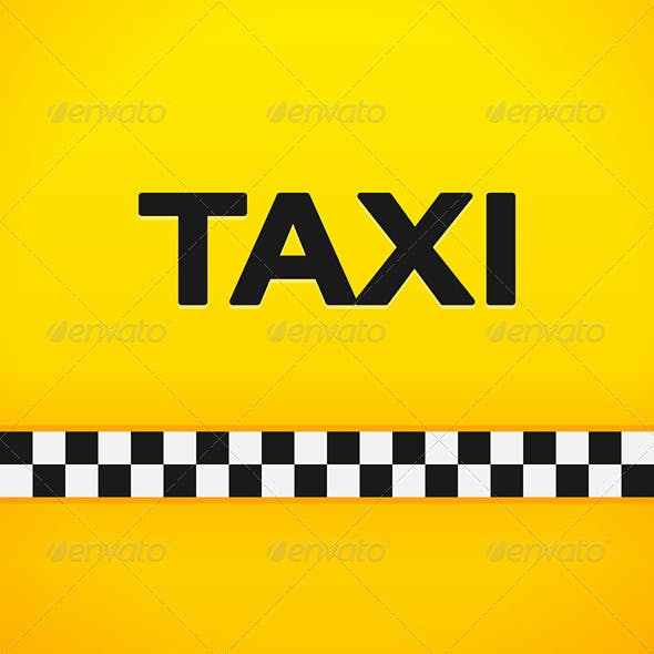 Taxi Word on Yellow Background