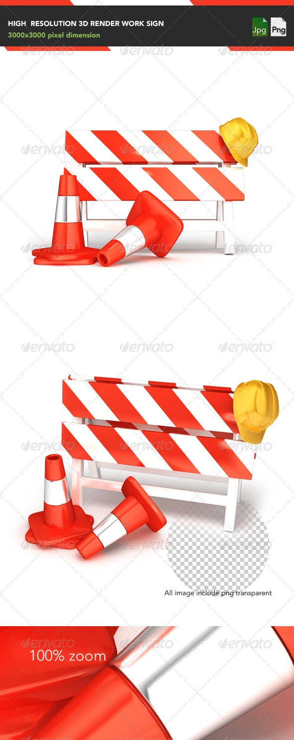 Work Sign - Objects 3D Renders