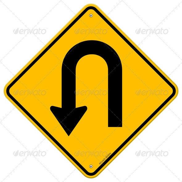 U-Turn Roadsign - Objects Vectors