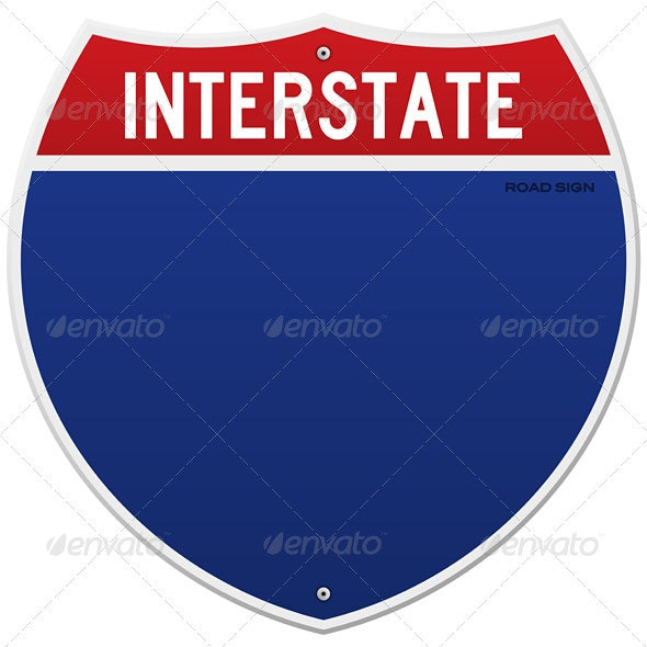 Isolated Interstate Sign - Objects Vectors