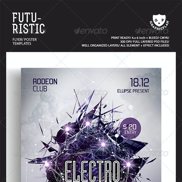 Electro House Futuristic Party Flyer Templates
