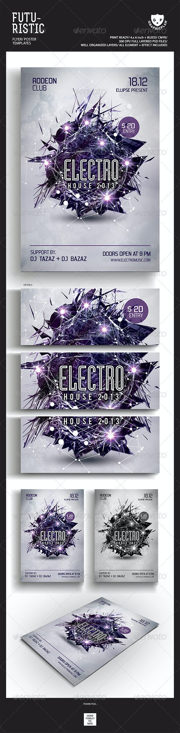 Electro House Futuristic Party Flyer Templates - Events Flyers