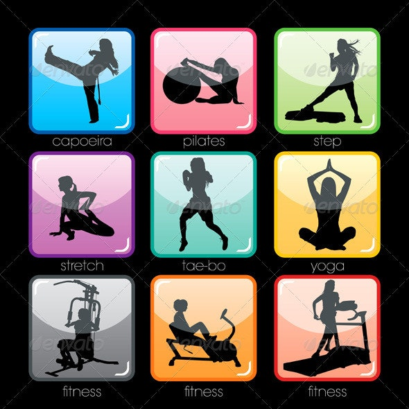 Fitness Buttons Set - Sports/Activity Conceptual