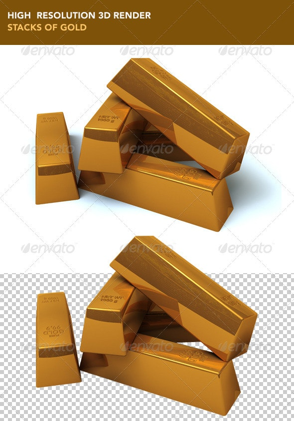 Stacks of Gold - Objects 3D Renders