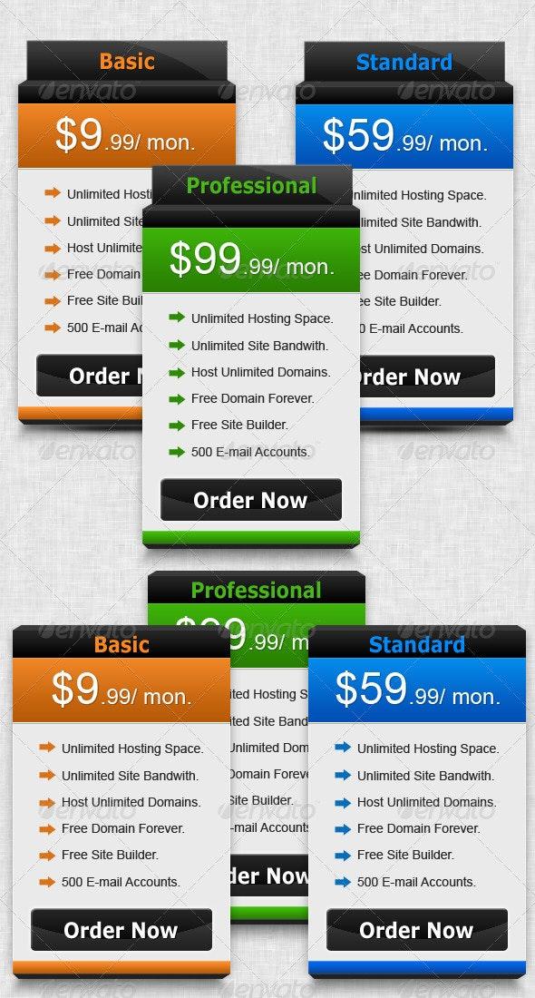 Semi 3d Pricing Box - Tables Web Elements
