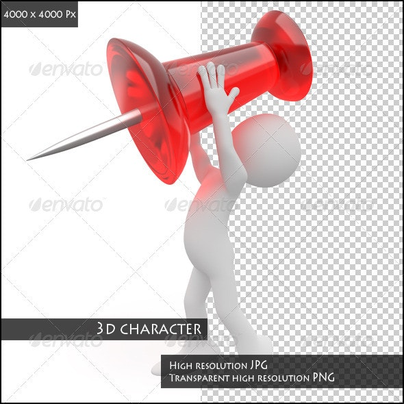 Man Trying to Nail a Pushpin - Characters 3D Renders