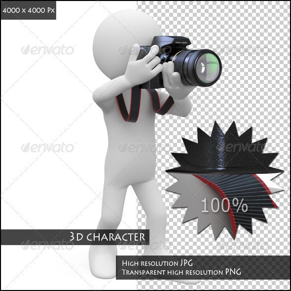 Man Taking a Picture with His SLR Camera - Characters 3D Renders