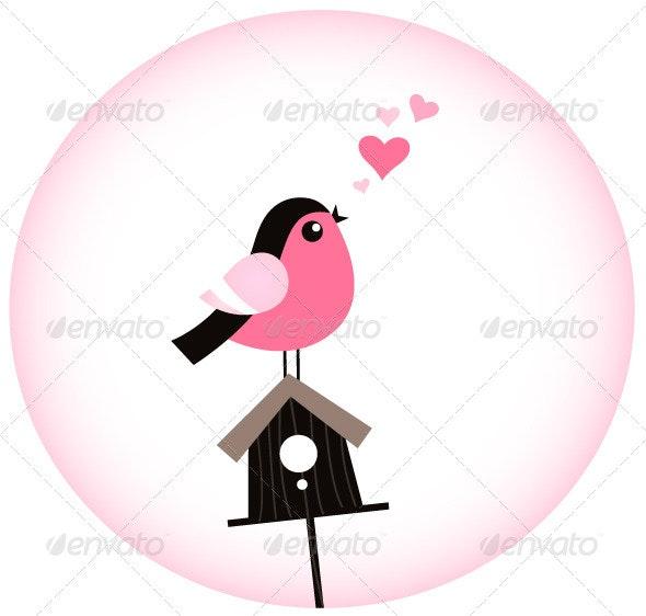 Cute Valentine Bird with a Birdhouse - Valentines Seasons/Holidays