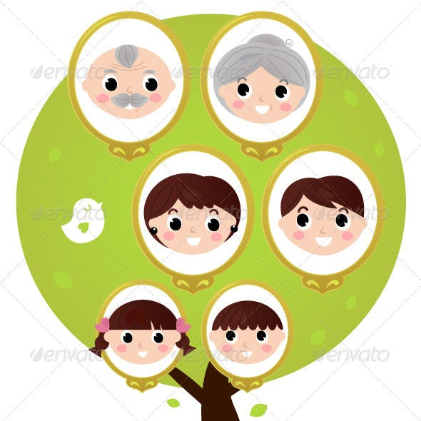 Cartoon Generation Family Tree Isolated on White