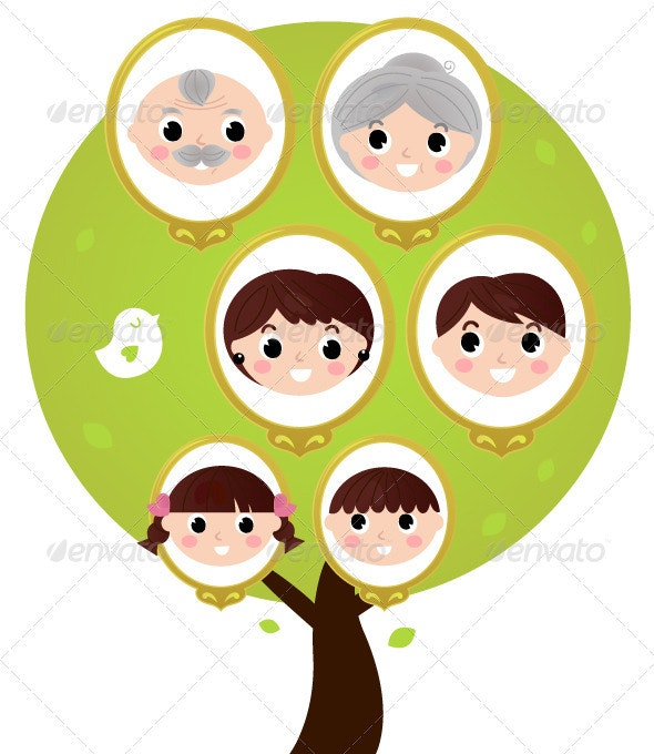 Cartoon Generation Family Tree Isolated on White - People Characters