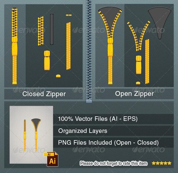 Vector Zipper - Open and Closed - Objects Vectors