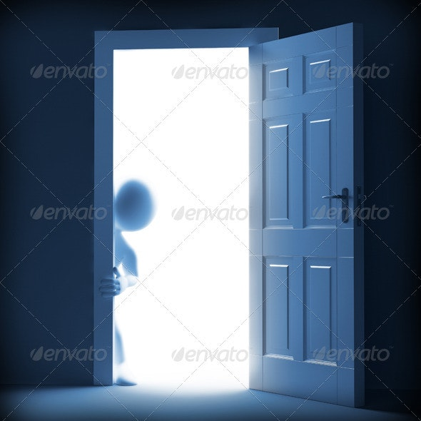 Man Looking From the Other Side of the Door - Characters 3D Renders