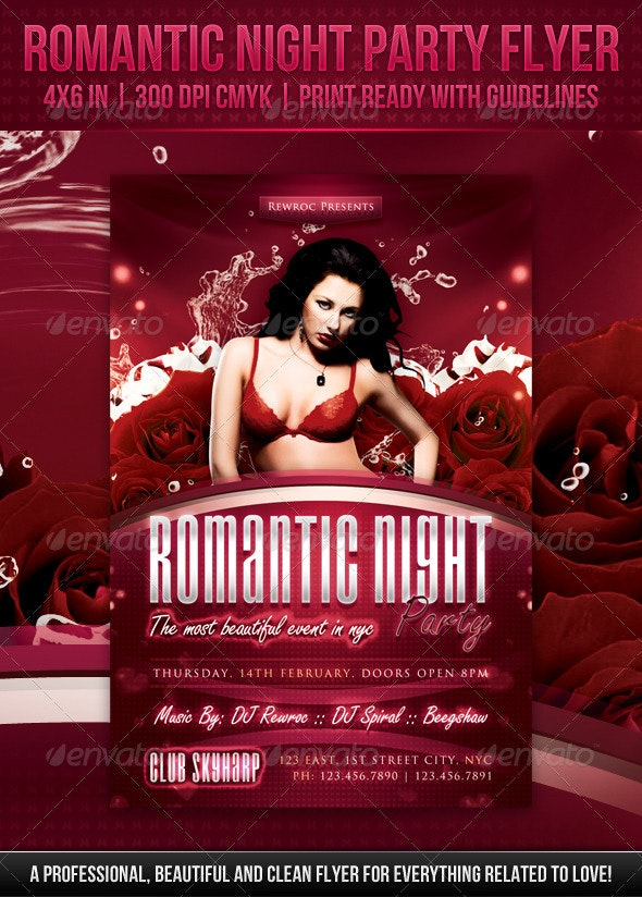 Romantic Night Party Flyer - Clubs & Parties Events