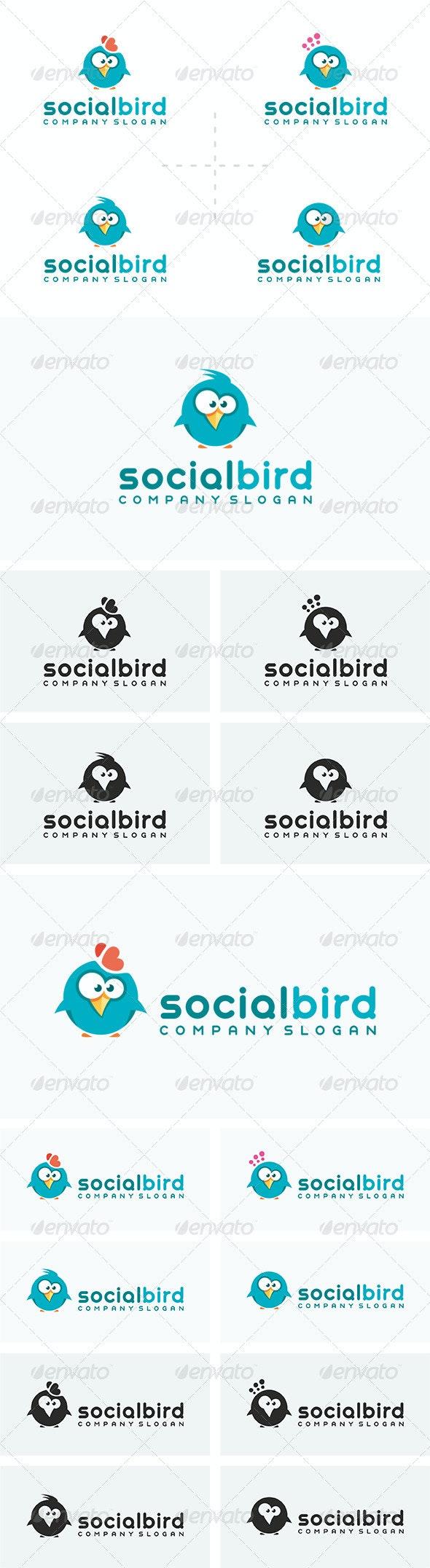 4 Social Bird Logos - Animals Logo Templates