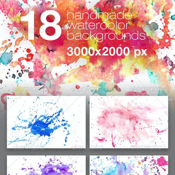 18 Handmade Watercolor Texture Backgrounds