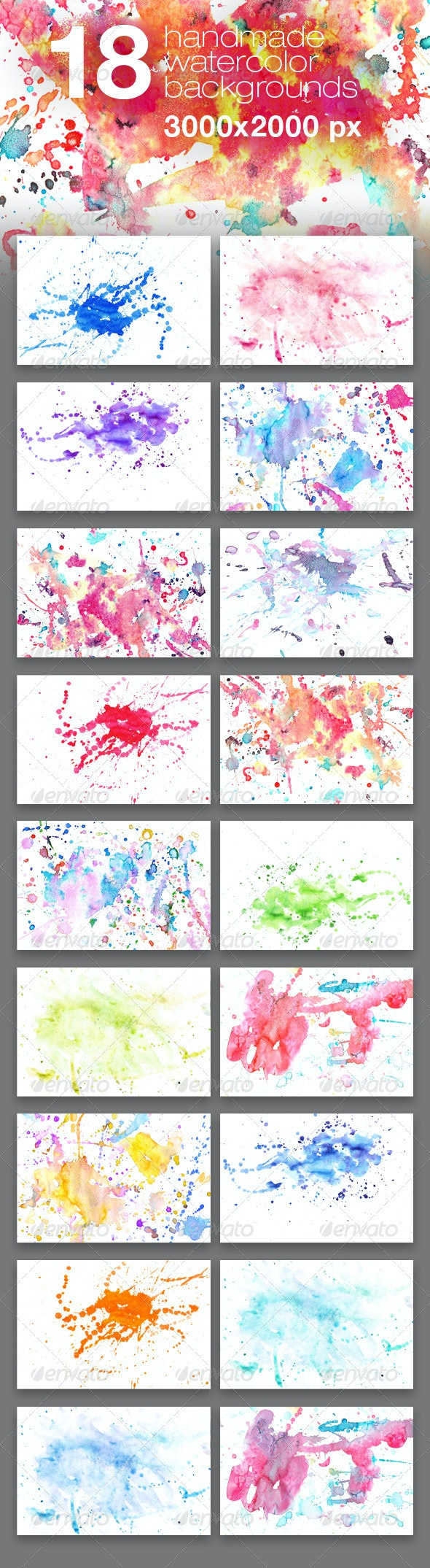 18 Handmade Watercolor Texture Backgrounds - Miscellaneous Textures