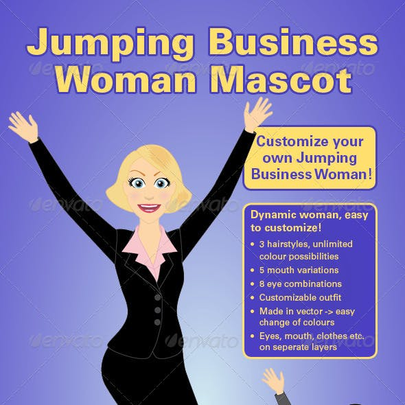 Jumping Business Woman Mascot Vector Kit