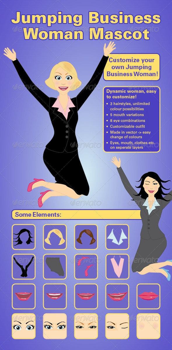 Jumping Business Woman Mascot Vector Kit - Characters Vectors