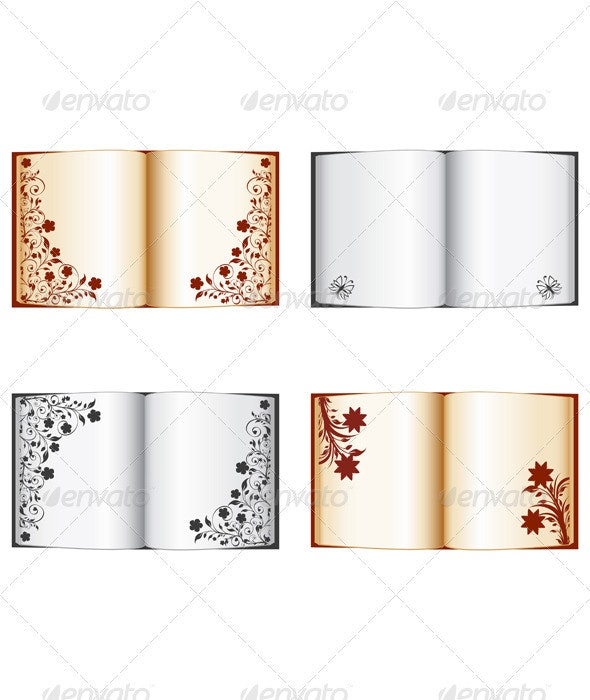 Set of the Open Books with Floral Decorations - Valentines Seasons/Holidays