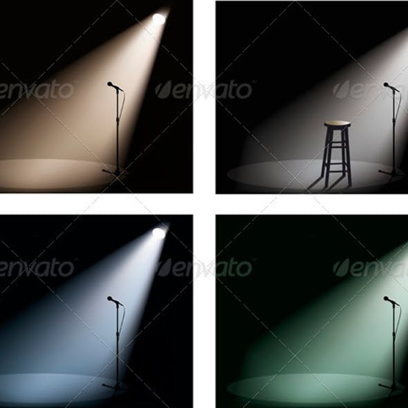 Night Club With Spotlight, Microphone And Chair