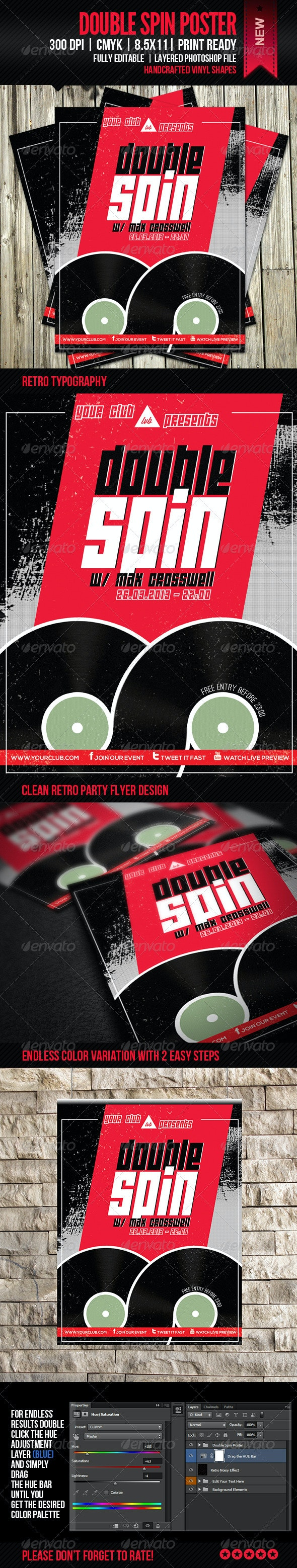 Double Spin Party Poster - Clubs & Parties Events