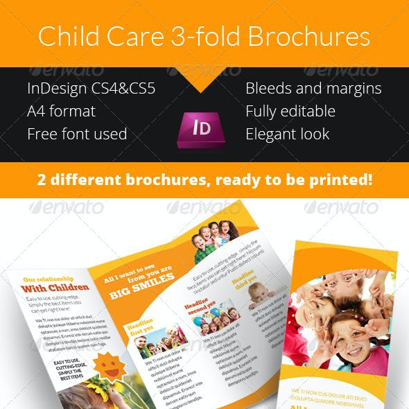 Child Care - Kindergarten 3-fold Brochure