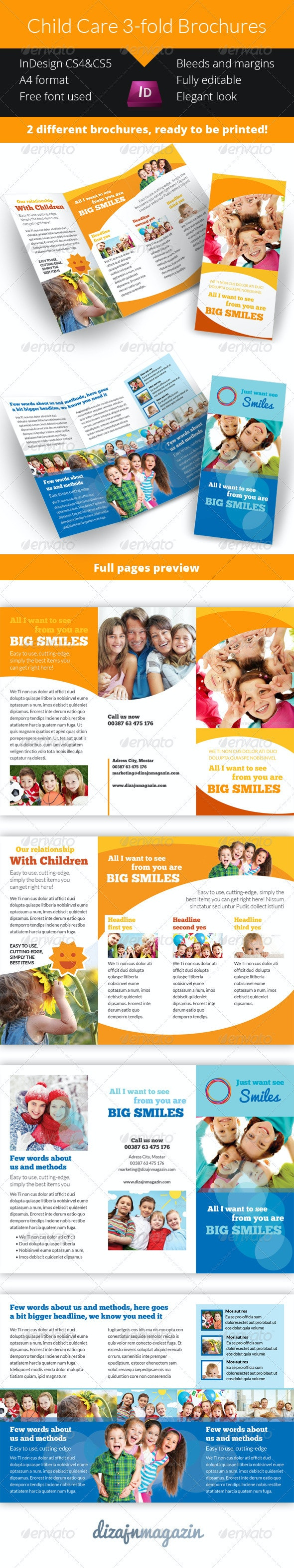 Child Care - Kindergarten 3-fold Brochure - Brochures Print Templates