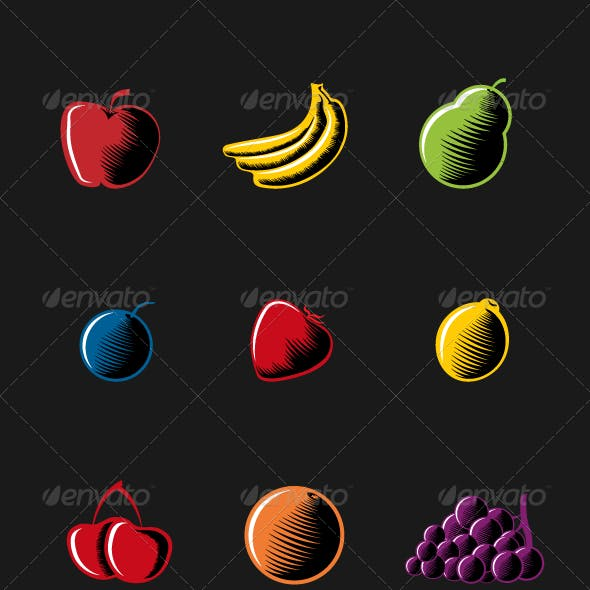 Vector Woodcut Style Fruits.