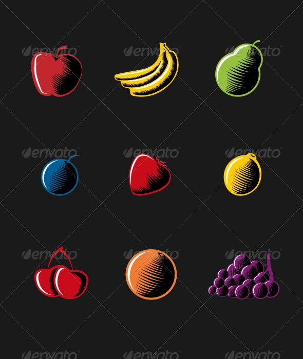 Vector Woodcut Style Fruits. - Food Objects