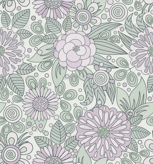 Picturesque Seamless Pattern in Soft Colors - Patterns Decorative