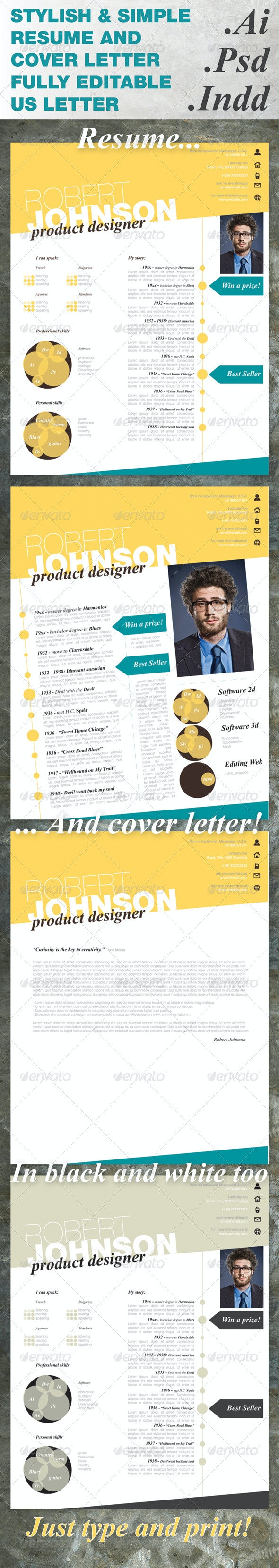 Stylish One Page CV Resume - Resumes Stationery