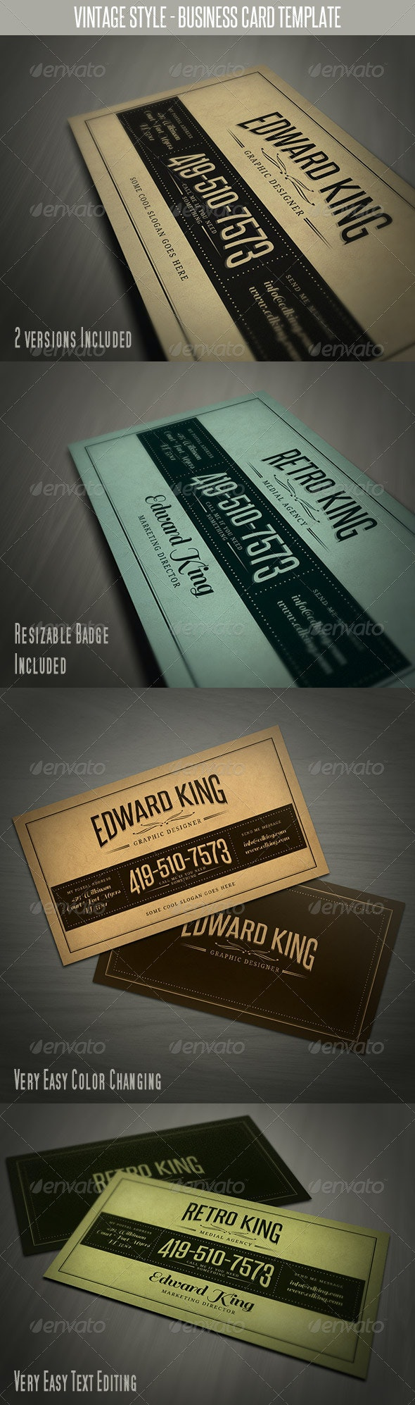 Vintage Style Business Card Template - Retro/Vintage Business Cards