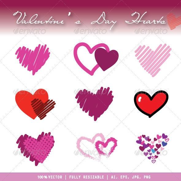 Valentine's Day Hearts - Decorative Symbols Decorative