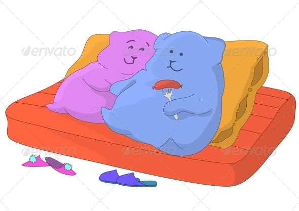Pillows. Family on a sofa - Miscellaneous Characters