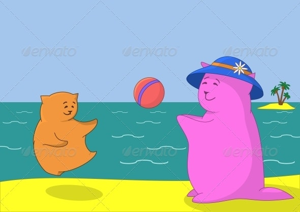Cartoon animals playing with a ball - Sports/Activity Conceptual