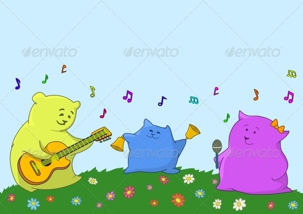 Cartoon toy animals musicians - Miscellaneous Characters