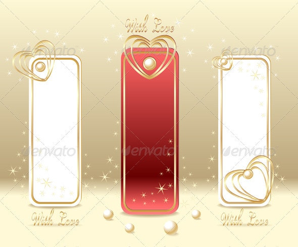 Set Royal Love Labels with hearts and pearls - Seasons/Holidays Conceptual