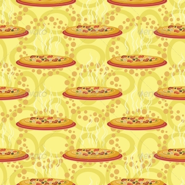 Seamless background, hot pizza - Food Objects