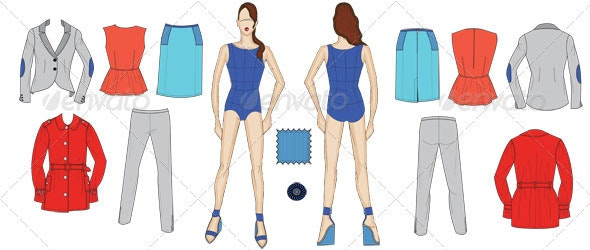 Fashion Croquis and Fit Model in Leather Work Wear - Man-made Objects Objects