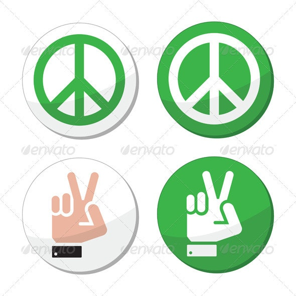 Peace, hand sign vector icons set - Abstract Conceptual