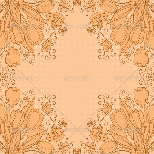 Flowers tulips on abstract background - Patterns Decorative