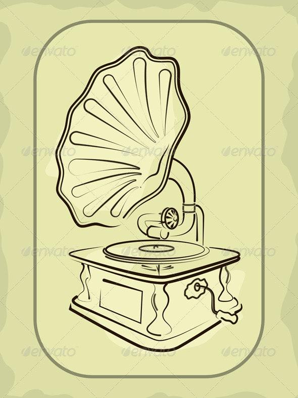 Ancient antiquarian gramophone  - Retro Technology