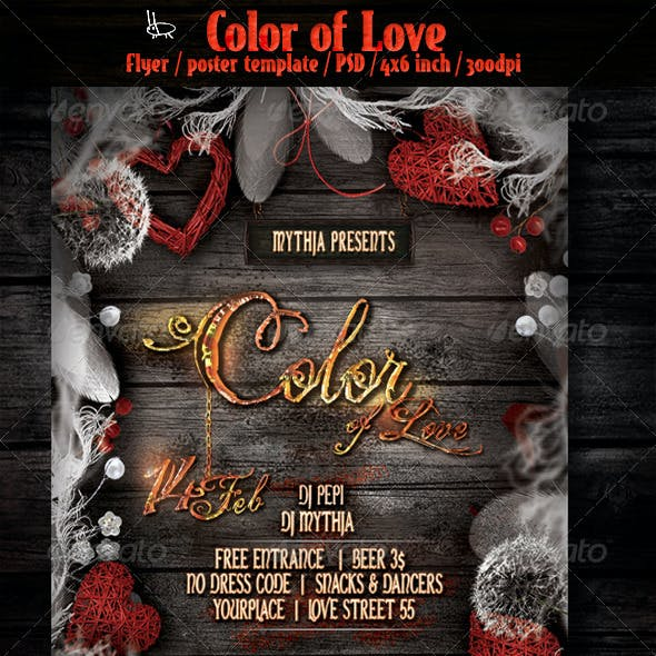 Color of Love - Valentines flyer/poster template
