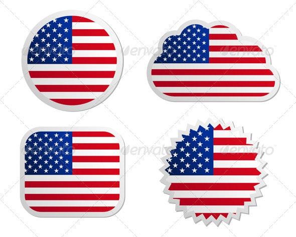 USA Flag Labels - Web Elements Vectors