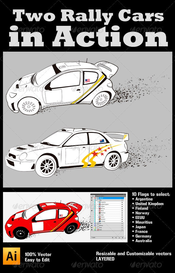 Two Rally Cars in Action - Sports/Activity Conceptual